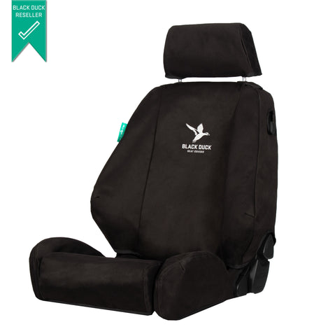 Toyota Prado (2009-2020) J150 Series GX & GXL - 7 SEATERS - NOT GXL With OPTIONAL LEATHER - WITH Side Airbags Black Duck® SeatCovers - PRA092ABC PRA09CON PRA09ABCDR PRA097L