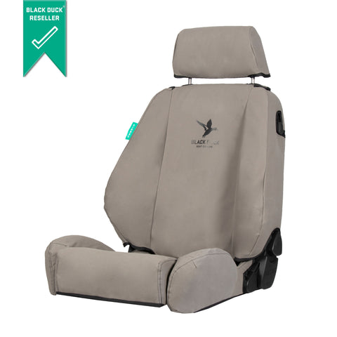 Mitsubishi Triton MK GLX (1996-2006) Dual Cab Black Duck Canvas Front and rear  Seat Cover with Map Pocket - MT316