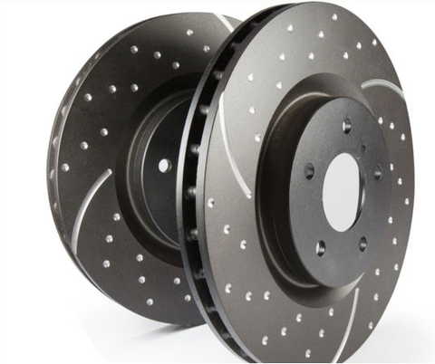 Toyota Prado 120 series (2003-2009) FRONT AND REAR SLOTTED AND DIMPLED BRAKE ROTORS +  EXTREME PADS