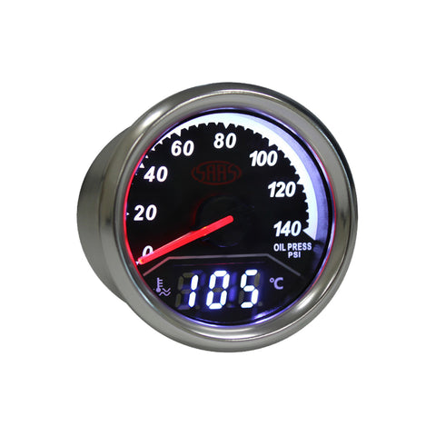 SAAS 2 in 1 Digital Analogue Dual Face Trax Gauge Oil Pressure and Water Temp - SG613020