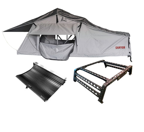 Roof Top Tent Camping Package - 2 Person LONG STYLE Soft Shell Tent Canyon Offroad