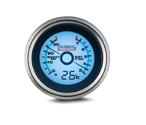 REDARC EGT and BOOST/PRESSURE gauge with optional temperature display - G52-BET