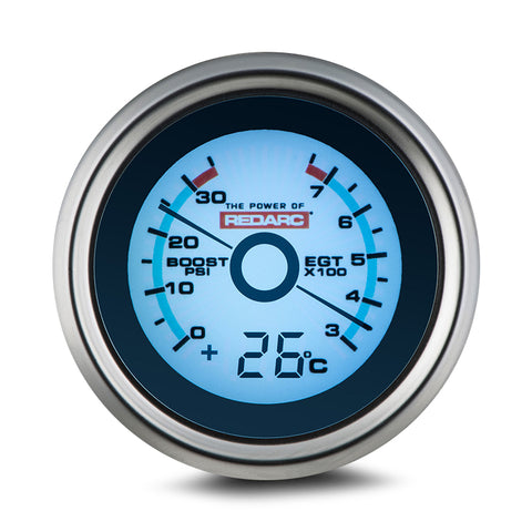REDARC dual temperature 52mm gauge with optional temperature display - G52-TTT