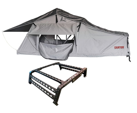 Roof Top Tent Package - 2 Person LONG STYLE Soft Shell Tent Canyon Offroad