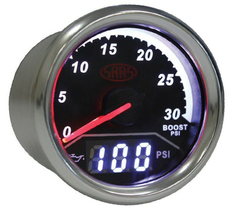 SAAS 2 IN 1 ANALOGUE BOOST 0-30PSI AND DIGITAL OIL PRESSURE 0-140PSI 52MM GAUGE - SG611230