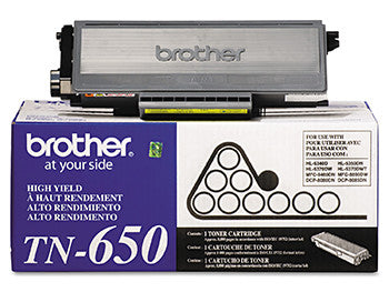 Brother Genuine TN-650 Toner Cartridge, Black, 8,000 pg HY - OEM