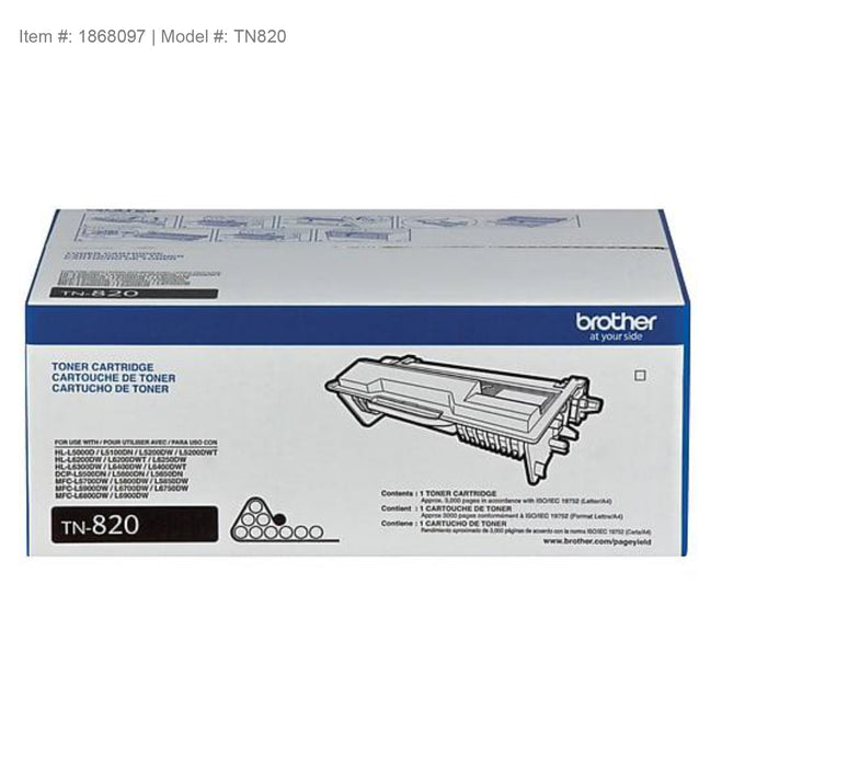 Brother Genuine TN820 Black Original Laser Toner Cartridge - OEM