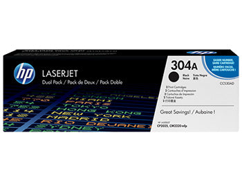 HP 304A 2-pack Black Original LaserJet Toner Cartridges, CC530AD - OEM