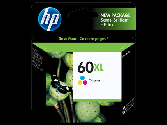 HP 60XL High Yield Tri-color Original Ink Cartridge, CC641WN - OEM