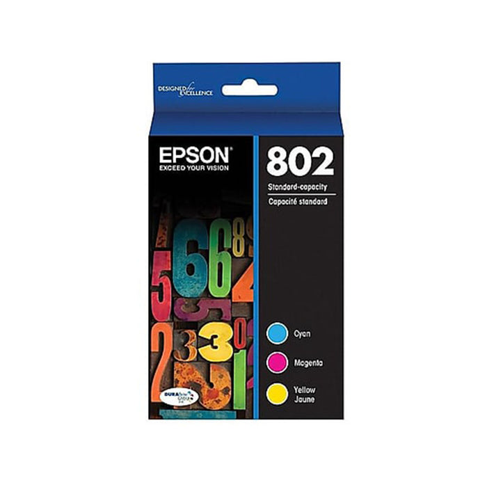 Epson 802 With Sensor Color Combination Ink Cartridges, Standard, 3/Pack (T802520-S) - OEM