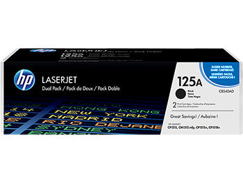 HP 125A 2-pack Black Original LaserJet Toner Cartridges, CB540AD - OEM