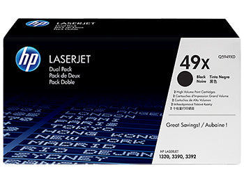 HP 49X 2-pack High Yield Black Original LaserJet Toner Cartridges, Q5949XD - OEM