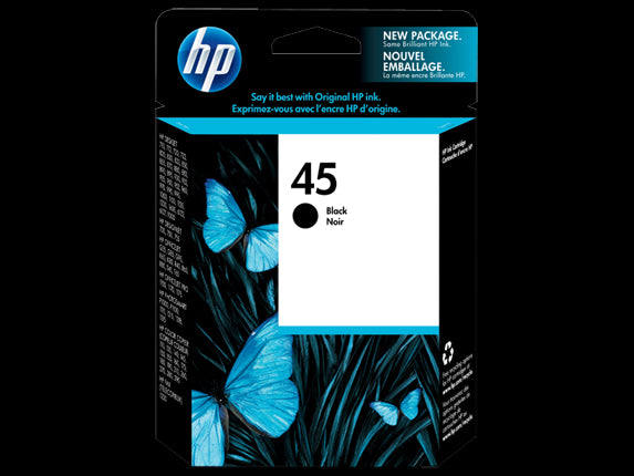 HP 45 Black Original Ink Cartridge, 51645A - OEM