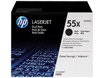 HP 55X 2-pack High Yield Black Original LaserJet Toner Cartridges, CE255XD - OEM