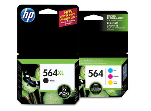 HP 564XL/564 High Yield Black and Standard Color Ink Catridge Bundle - OEM
