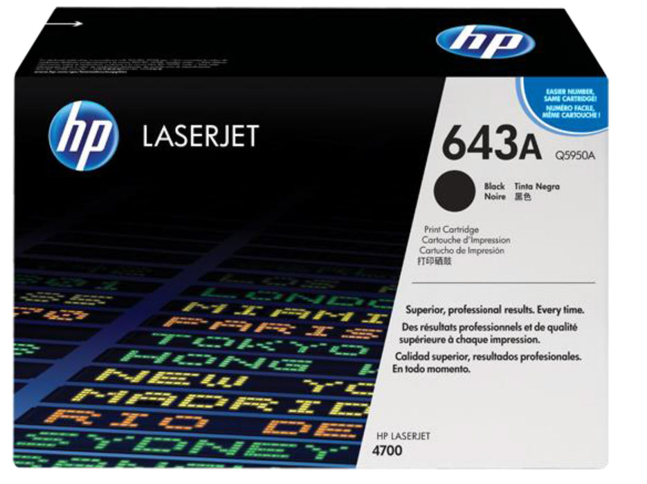HP 643A Black Original LaserJet Toner Cartridge, Q5950A - OEM