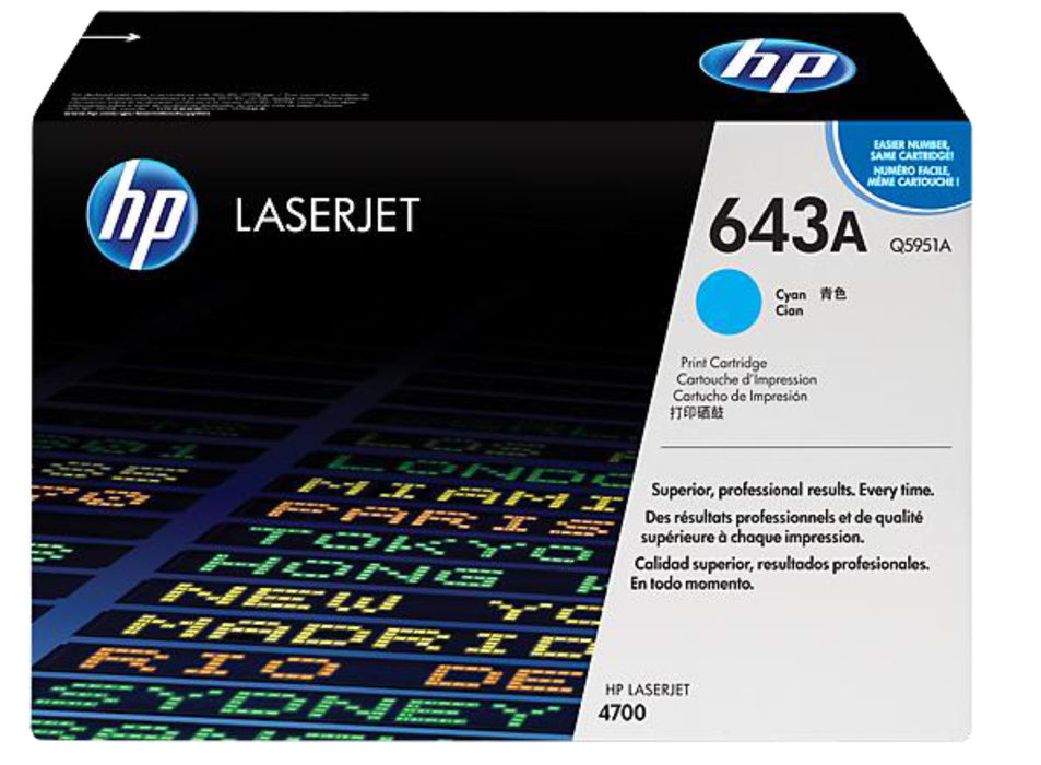 HP 643A Cyan Original LaserJet Toner Cartridge, Q5951A - OEM