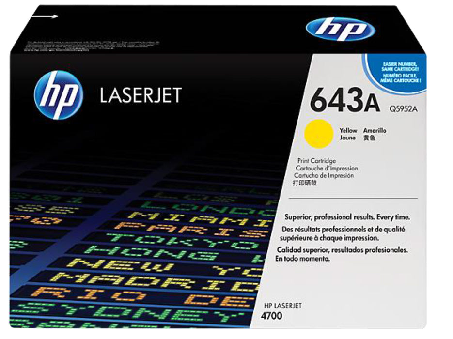 HP 643A Yellow Original LaserJet Toner Cartridge, Q5952A - OEM