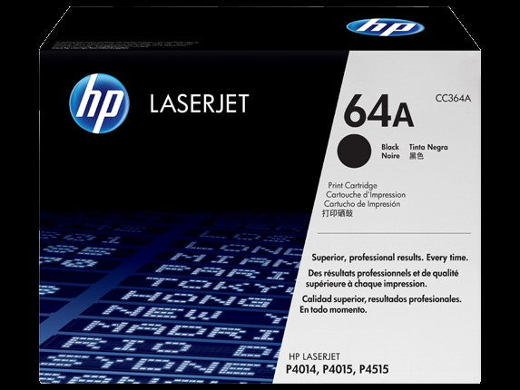 HP 64A Black LaserJet Toner Cartridge, CC364A - OEM