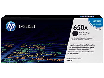 HP 650A Black Original LaserJet Toner Cartridge, CE270A - OEM