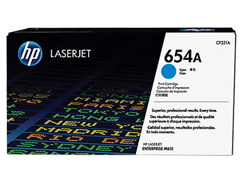 HP 654A Cyan Original LaserJet Toner Cartridge, CF331A - OEM