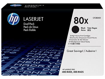 HP 80X 2-pack High Yield Black Original LaserJet Toner Cartridges, CF280XD - OEM