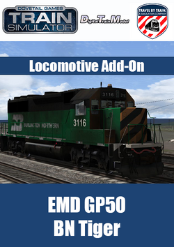 "The EMD GP5 BN Tiger Locomotive Add-On for Train Simulator, developed by DTM / Travel by Train, is available in Burlington Northern ""Tiger"" livery"