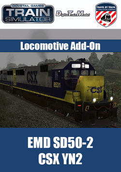 The SD 50-2 CSX YN2 Locomotive Add-On for Train Simulator, developed by DTM / Travel by Train, is a highly detailed recreation of this iconic locomotive in CSX NY2 livery.
