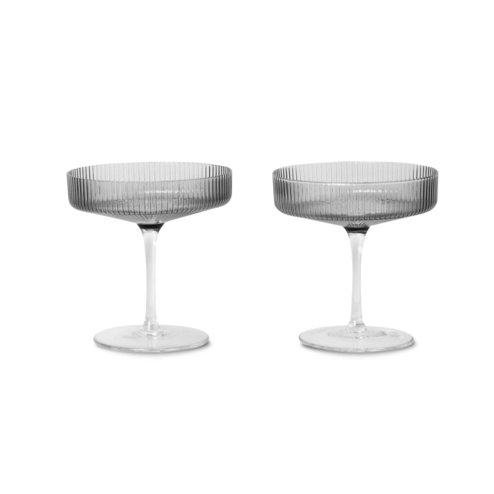 ferm LIVING | Ripple Champagne Saucer (set of 2) - Smoked