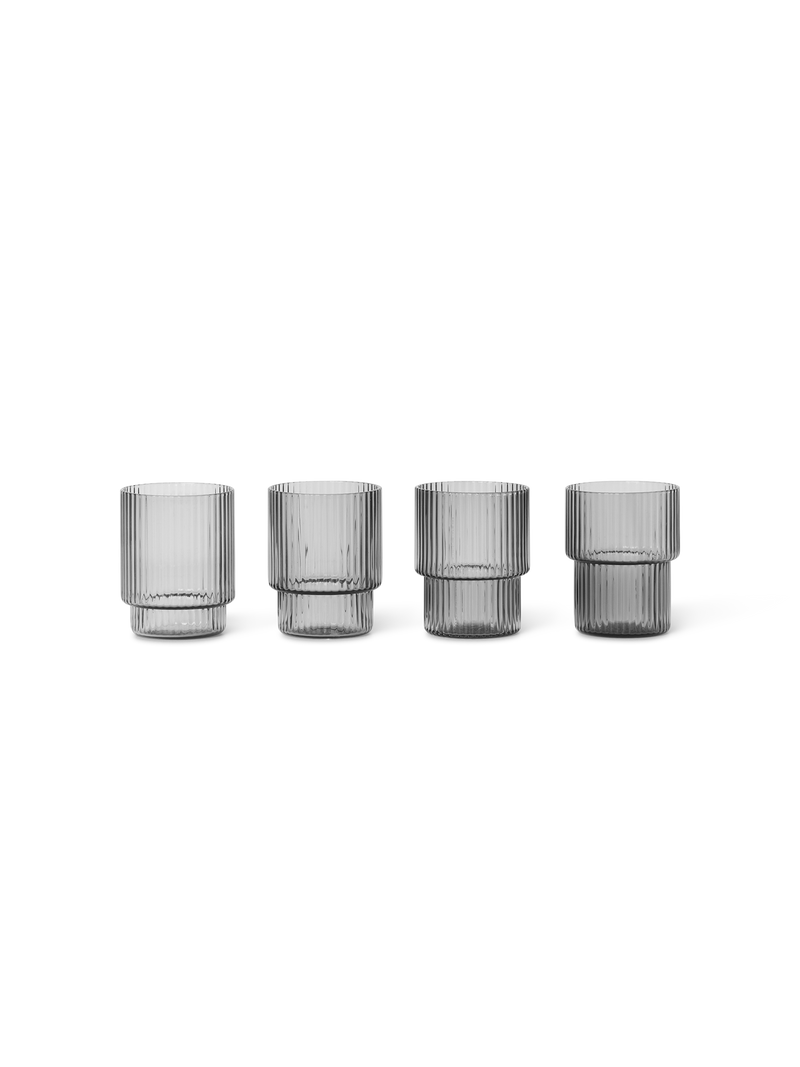 ferm LIVING | Ripple Shot Glasses - Set of 4 - Smoked