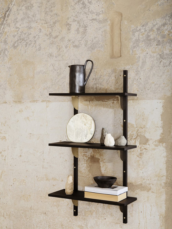 ferm LIVING | Sector Shelf Triple Narrow - Black Ash & Brass