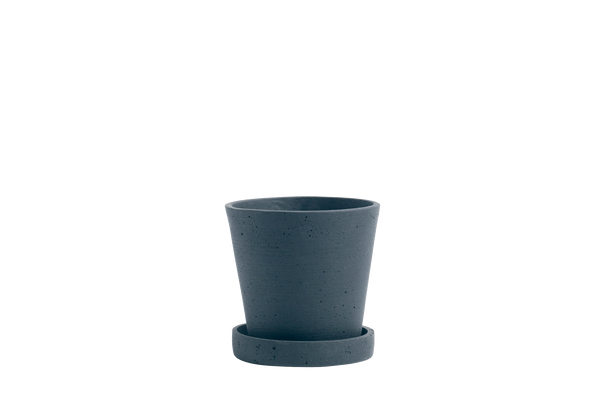 HAY | Flower Pot With Saucer - Dark Blue - S