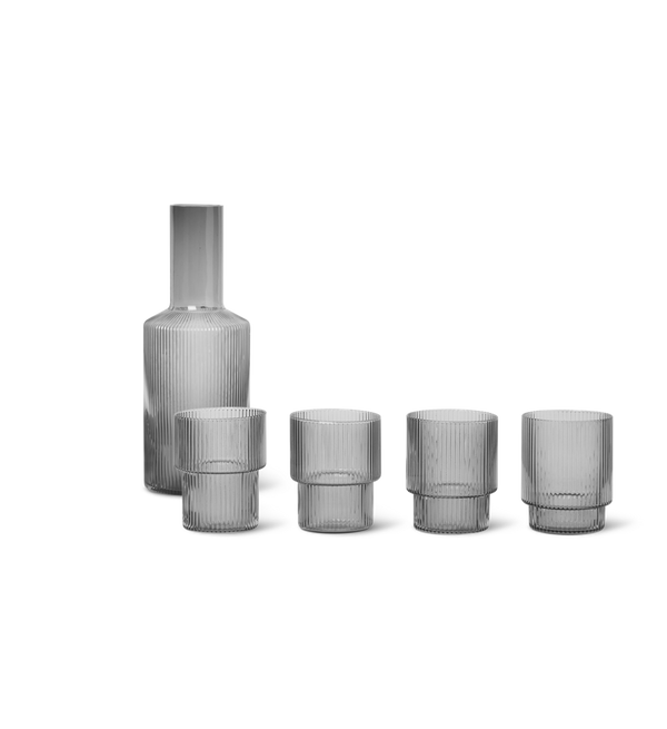ferm LIVING | Ripple Carafe & Glasses Set - Smoked