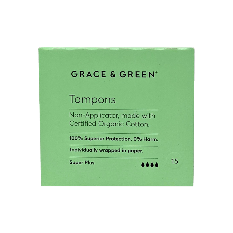 Grace & Green | Organic Non-Applicator Tampons - Super Plus