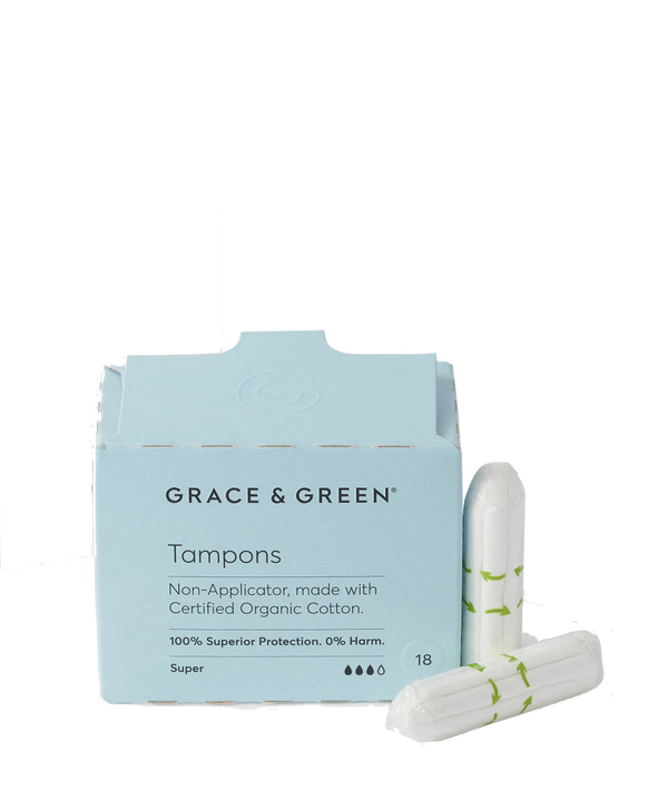 Grace & Green | Organic Non-Applicator Tampons - Super