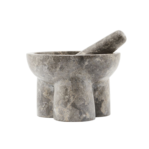 House Doctor |  Mortar with Pestle - Grey/Brown