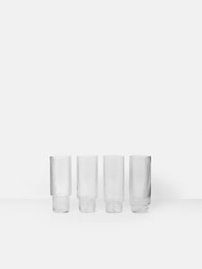 ferm LIVING | Ripple Long Drink Glasses (set of 4) - Clear