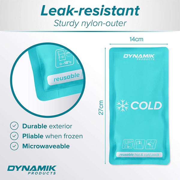 Premium Large Reusable Hot/Cold Gel Ice Pack (14x27cm) with Compress Wrap