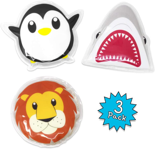 Dynamik Products Reusable Hot and Cold Gel Pack 3 Pack - Lion, Penguin and Shark