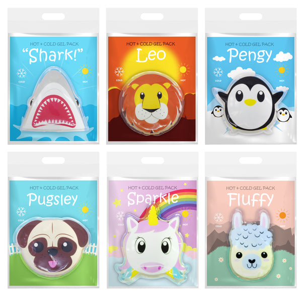 Dynamik Products Reusable Hot and Cold Gel Pack 6 Pack - Lion, Llama, Penguin, Pug, Shark and Unicorn