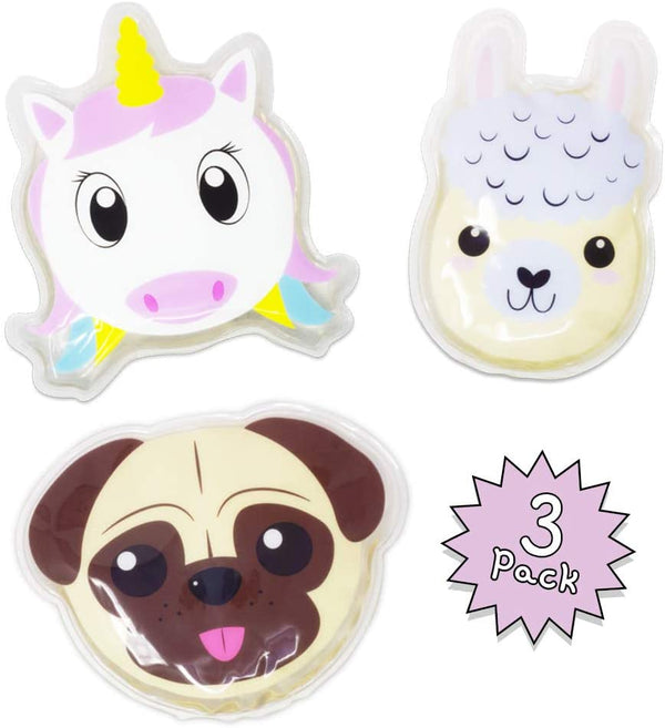 Dynamik Products Reusable Hot and Cold Gel Pack 3 Pack - Llama, Pug and Unicorn