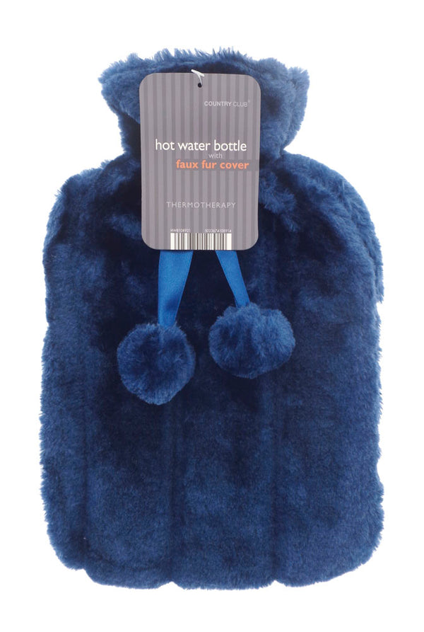 Luxury Hot Water Bottle with Best Plush Faux Fur Cover 2 Litre