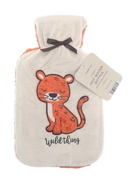 Premium Hot Water Bottle with Sherpa Applique Fleece Cover 2 Litre