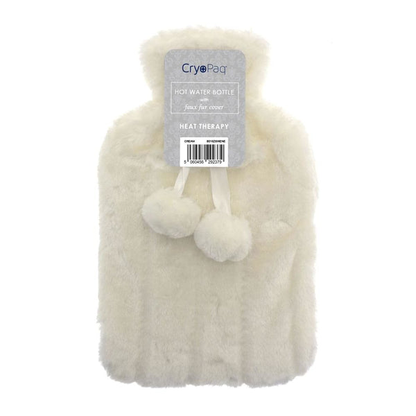 Luxury Hot Water Bottle With Best Plush Faux Fur Cover 2 Litre - Cream - Hot Water Bottle