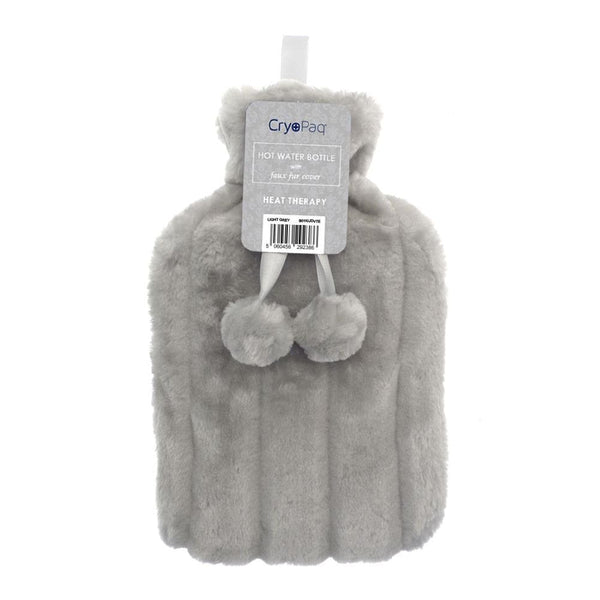 Luxury Hot Water Bottle With Best Plush Faux Fur Cover 2 Litre - Light Grey - Hot Water Bottle