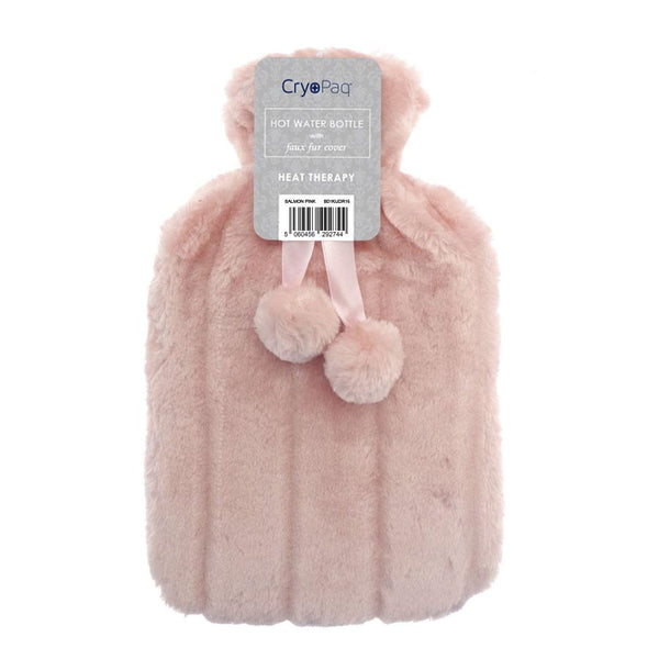 Luxury Hot Water Bottle With Best Plush Faux Fur Cover 2 Litre - Pink - Hot Water Bottle