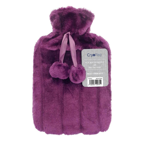 Luxury Hot Water Bottle With Best Plush Faux Fur Cover 2 Litre - Purple - Hot Water Bottle
