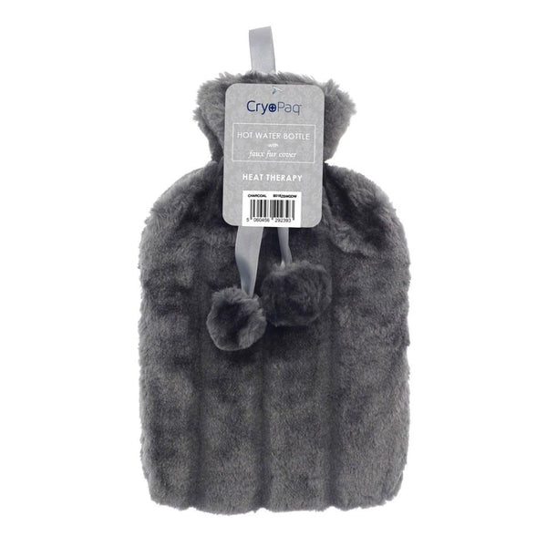 Luxury Hot Water Bottle With Best Plush Faux Fur Cover 2 Litre - Silver - Hot Water Bottle
