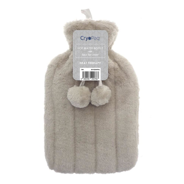Luxury Hot Water Bottle With Best Plush Faux Fur Cover 2 Litre - Tan - Hot Water Bottle