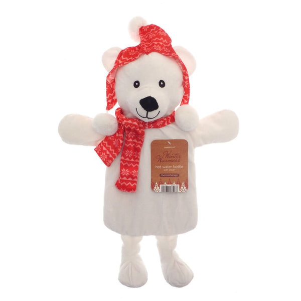 Premium Hot Water Bottle With Winter Warmer Novelty Fun Cover 1 Litre - Polar Bear - Hot Water Bottle